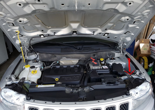 Jeep Compass 2013 Relay Box location, lower back side of the driver's side headlights