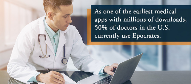 As one of the earliest medical apps with millions of downloads, 50 percent of doctors in the U.S. currently use Epocrates.