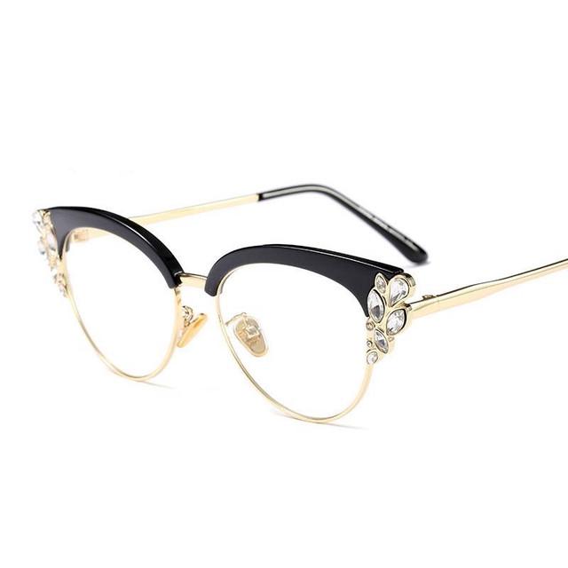 f79798f421d2 Prescription optical eyewear royal glasses ralferty frames oculos eyeglass  frame rhinestone women black vintage jpg 640x640