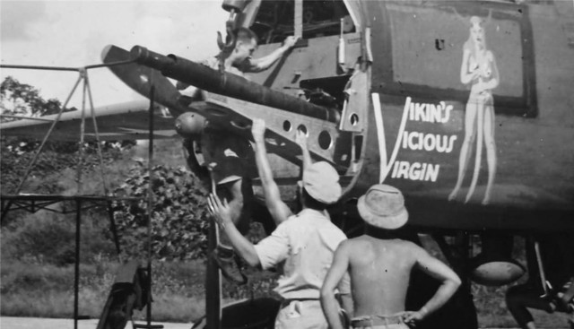 B 25 Vikins Vicious Virgin Nose Art cannon CBI China Burma India Copy