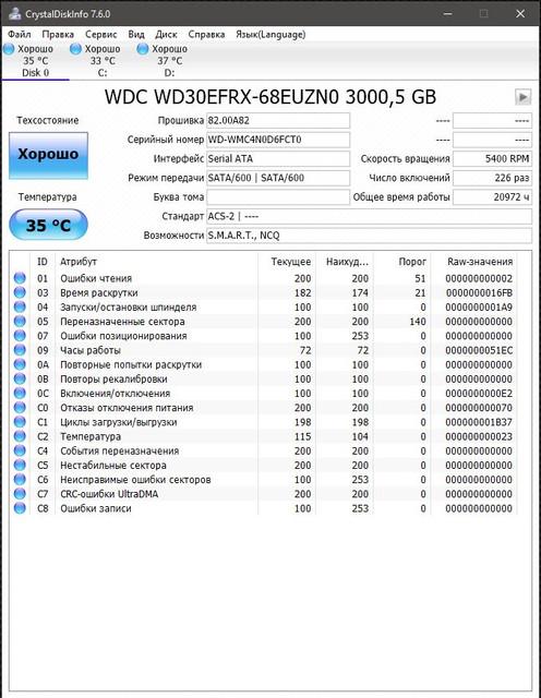 WDC WD30 EFRX 68 EUZN0