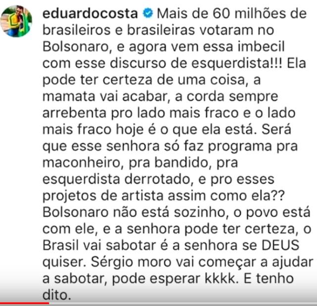 Eduardo Costa ameaça Fernanda Lima por causa de Bolsonaro e Rodrigo Hilbert se pronuncia em letras GARRAFAIS