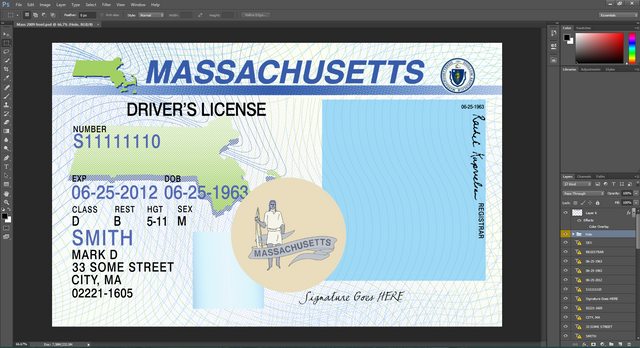 Massachusetts driving licence psd template