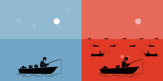 distinción entre océano azul y oceano rojo