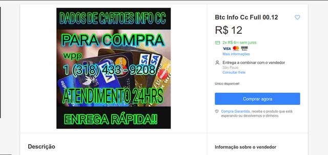 imagem de venda de cartões em site