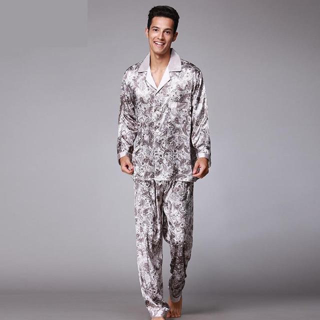 Silk Luxury Satin Sleepwear Loungewear Pajamas Men Set Robe Pants ...