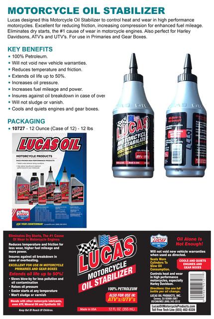 Details about Lucas Oil 10727 Motorcycle Oil Stabilizer Petroleum 100%  Petrol 12oz  355ml