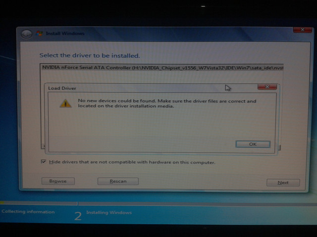 drivers not found when installing windows 7