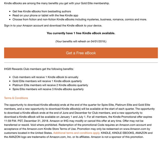 New IHG Benefit (All UK Members): Free eBooks with Amazon
